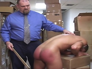 Boss Spanks Lazy Worker bdsm bear daddy