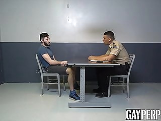 Detained jock sucks cock and rawrides to escape from custody bareback (gay) big cock (gay) blowjob (gay)